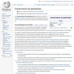 Conservateur du patrimoine / Consulté le 09/11/2016