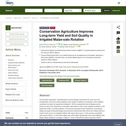 AGRONOMY 04/12/19 Conservation Agriculture Improves Long-term Yield and Soil Quality in Irrigated Maize-oats Rotation