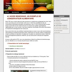 L'acide benzoique - La conservation alimentaire