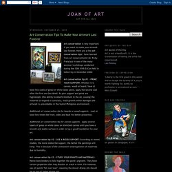Joan of Art: Art Conservation Tips To Make Your Artwork Last Forever