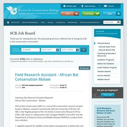 Field Research Assistant - African Bat Conservation Malawi