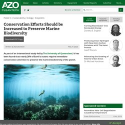 Conservation Efforts Should be Increased to Preserve Marine Biodiversity