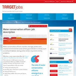Water conservation officer: job description