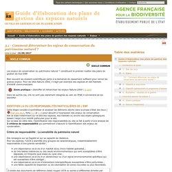 3.1 - Comment déterminer les enjeux de conservation du patrimoine naturel ?