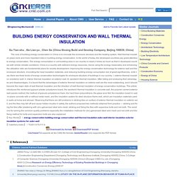 BUILDING ENERGY CONSERVATION AND WALL THERMAL INSULATION