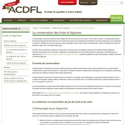 ASSOCIATION CANADIENNE DE LA DISTRIBUTION DE FRUITS ET LEGUMES - Guide d'entreposage des fruits et légumes