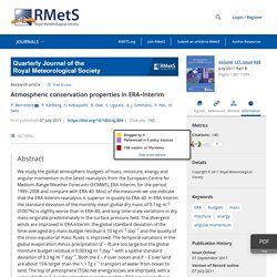 Atmospheric conservation properties in ERA‐Interim - Berrisford - 2011 - Quarterly Journal of the Royal Meteorological Society - Wiley Online Library