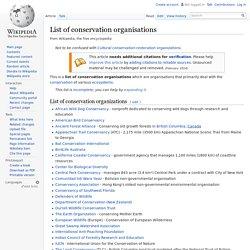 List of conservation organisations