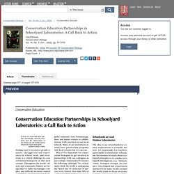 Conservation Education Partnerships in Schoolyard Laboratories: A Call Back to Action on JSTOR
