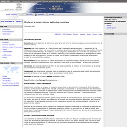 Charte sur la conservation du patrimoine numérique: UNESCO