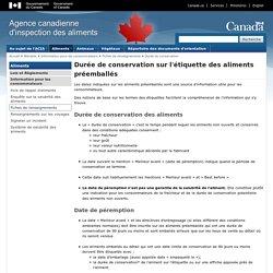 ACIA (Canada) 07/07/13 Durée de conservation sur l'étiquette des aliments préemballés