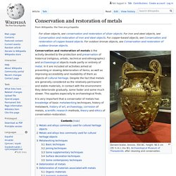 Conservation and restoration of metals / Wikipedia