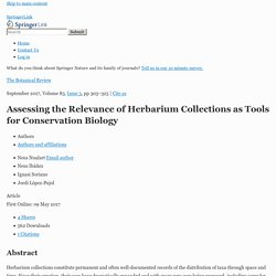 Assessing the Relevance of Herbarium Collections as Tools for Conservation Biology