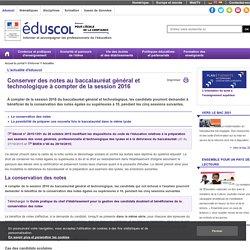 Accueil du portail - Conservation des notes au baccalauréat général et technologique