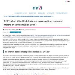 RGPD, droit à l'oubli et durées de conservation : comment mettre en conformité (...) - mc2i : Conseil en transformation numérique
