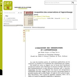 L'acquisition des conservations et l'apprentissage