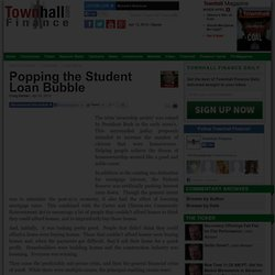 Popping the Student Loan Bubble - Craig Steiner - Townhall Finance Conservative Columnists and Financial Commentary