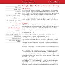 Principles of Best Practice in Conservatoire Teaching