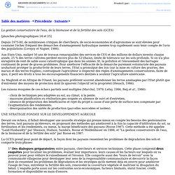 La gestion conservatoire de l'eau, de la biomasse et de la fertilité des sols (GCES)