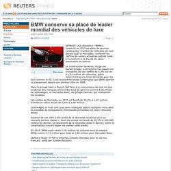 BMW conserve sa place de leader mondial des véhicules de luxe