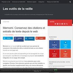 Memomi. Conservez des citations et extraits de texte depuis le web – Les outils de la veille