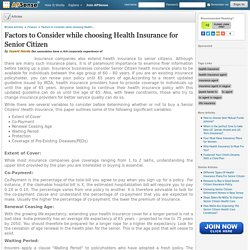 Factors to Consider while choosing Health Insurance for Senior Citizen