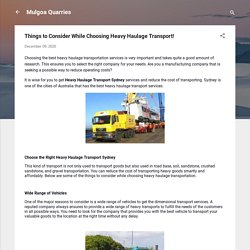 Things to Consider While Choosing Heavy Haulage Transport!