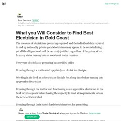 What you Will Consider to Find Best Electrician in Gold Coast