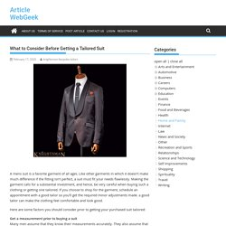 What to Consider Before Getting a Tailored Suit