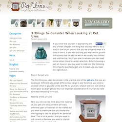 3 Things to Consider When Looking at Pet Urns