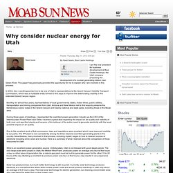 Why consider nuclear energy for Utah - Moab Sun News: Opinion