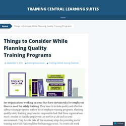 Things to Consider While Planning Quality Training Programs