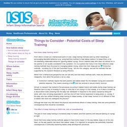 ISIS : Things to Consider - Potential Costs of Sleep Training - ISIS Online