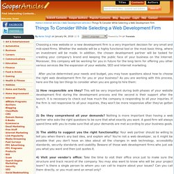 How to decide about Web Development Firm