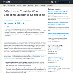 5 Factors to Consider When Selecting Enterprise Social Tools
