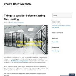 Things to consider before selecting Web Hosting