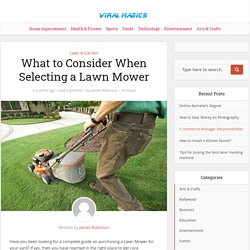 What to Consider When Selecting a Lawn Mower – Viral Magics