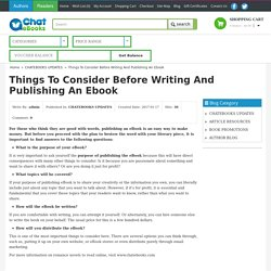 Things to Consider Before Writing and Publishing an E-book