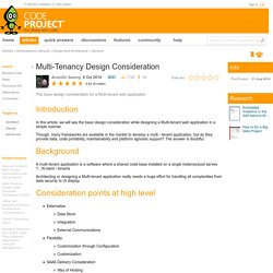 Multi-Tenancy Design Consideration