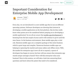 Important Consideration for Enterprise Mobile App Development