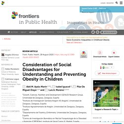 Consideration of Social Disadvantages for Understanding and Preventing Obesity in Children / Front Public Health, 28 August 2020