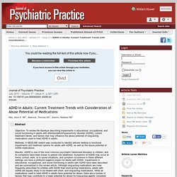 ADHD in Adults: Current Treatment Trends with Consideration... : Journal of Psychiatric Practice®