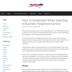 Four Consideration When Selecting A Business Telephone Service