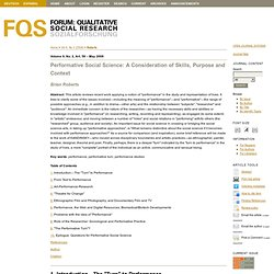Performative Social Science: A Consideration of Skills, Purpose and Context | Roberts