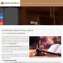 Considerations Before Filing a Lawsuit