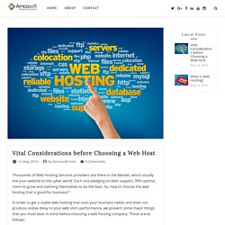 Vital Considerations Before Choosing Web Hosting Services