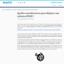 Quelles considérations pour déployer une solution BYOD ? - Mobil'IT