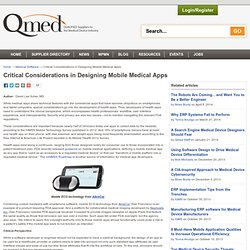 Critical Considerations in Designing Mobile Medical Apps