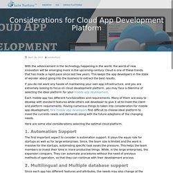 Considerations for Cloud App Development Platform - Mobile App Devtech