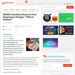 "Mobile Considerations in User Experience Design: ""Web or Native?"""